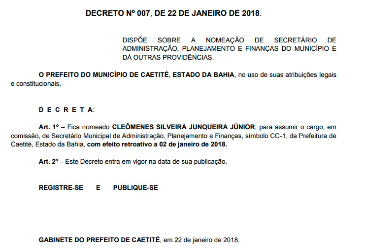 Foto: Reprodução   Diário Oficial