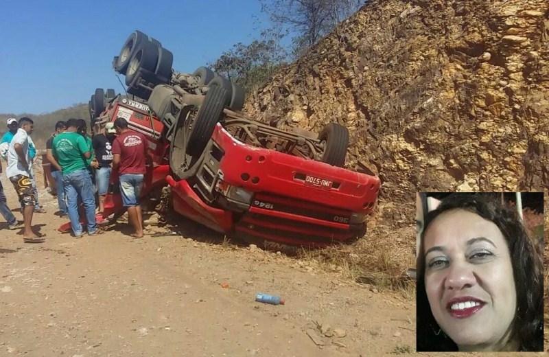 Professora natural de Igaporã morre presa as ferragens em acidente com carreta na BR-430